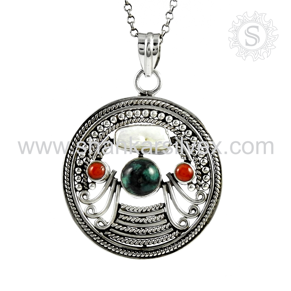 Amazing Coral Turquoise South Sea Pearl Pendant Gemstone 925 Silver Jewelry Wholesaler India