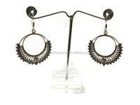 925 Sterling Silver Oxidized Plain Earring indian Traditional style Earring Handmade Silver