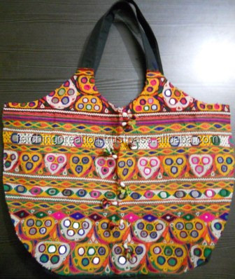 Vintage Mirror Design Embroidery Fabric Banjara Handbag