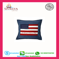 Custom digital printing blank applique work hand embroidery velvet cotton latest design cushion cover for office chair