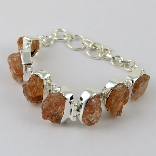 Awesome Red Sun Sitara Rough Stone 925 Sterling Silver Bracelet, Online Silver Jewelry, Silver Jewellery