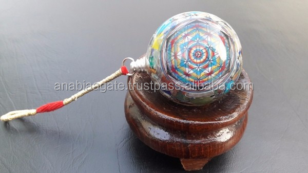 Chakra Layered Orgonite Round Vastu Plate : Orgone healing Products : Wholesale Orgone Healing Products