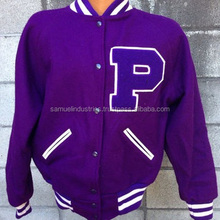 Purple Letterman Jacket oem varsity jackets Girls\women\ladies varsity jacket\ 100% Wool body with genuine leather sleeves