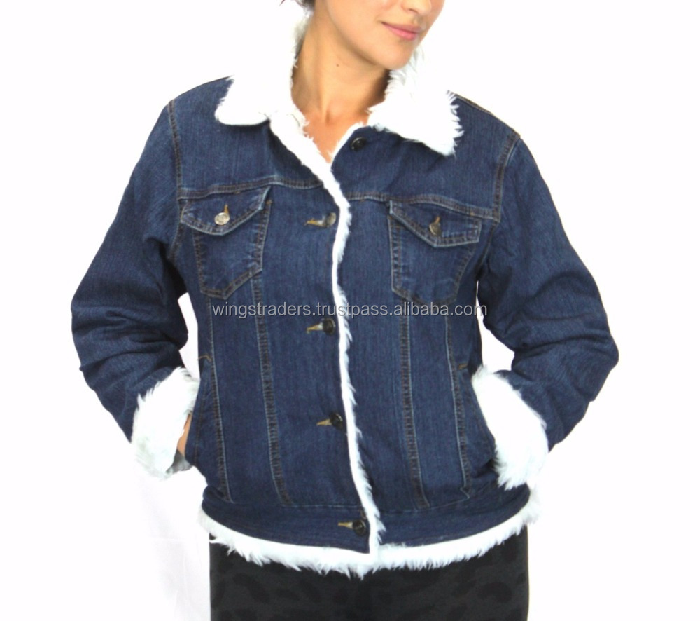 Long Sleeves Blue Denim Jeans Jacket With White Fur for winter