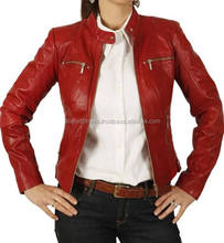 Pakistan Ladies Leather Jacket/Brown Fur Collar Belted Leather Jacket/