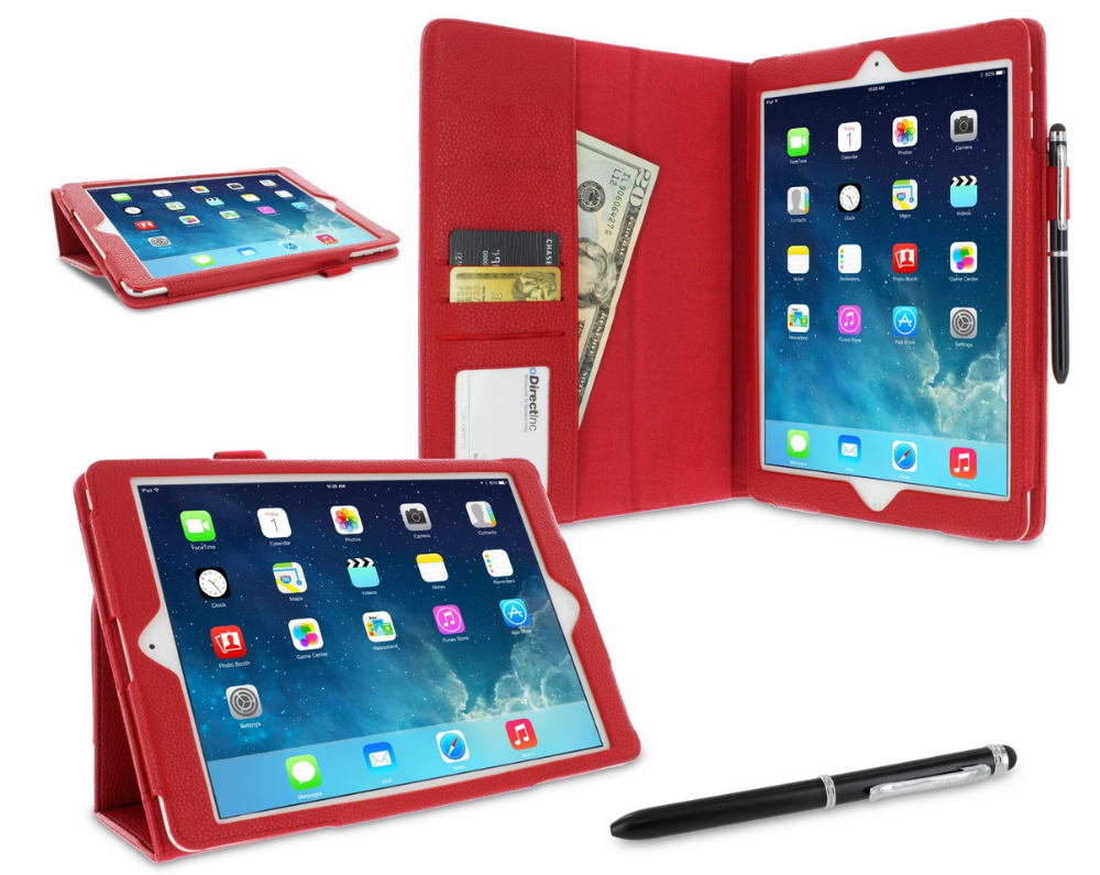 Dual-Station Slim Folding Premium PU Leather Folio Case, Smart Cover Auto Sleep/Wake; for iPad Air 1 roocase (Red)