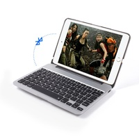 Whosale Seven Colors Backlighting Metal Skin Bluetooth Keyboard with Power Bank for iPad mini 4 - Silver