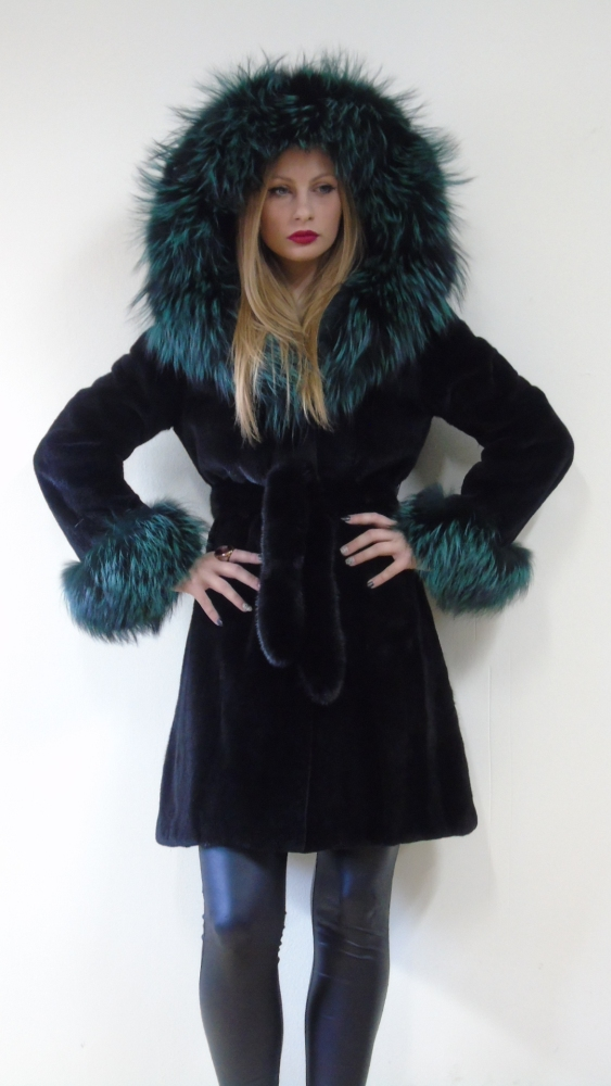 REAL MINK FUR FULL SKINS COAT BLACK WITH FOX HOOD SAGA FUR MEXA PELZMANTEL PELLICCIA