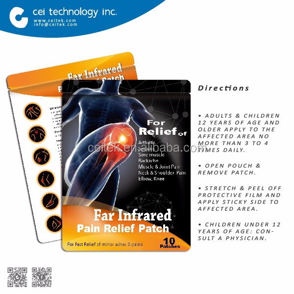 2017 Hot Sell Muscle Heat Pain Relief Patch Far Infrared Therapy Plaster