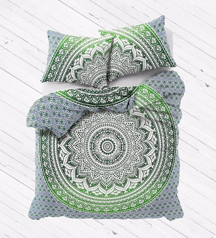 Traditional Wholesale Bedding Bedspread Handmade Doona Boho Mandala Reversible Quilt Indian Duvet cover Set