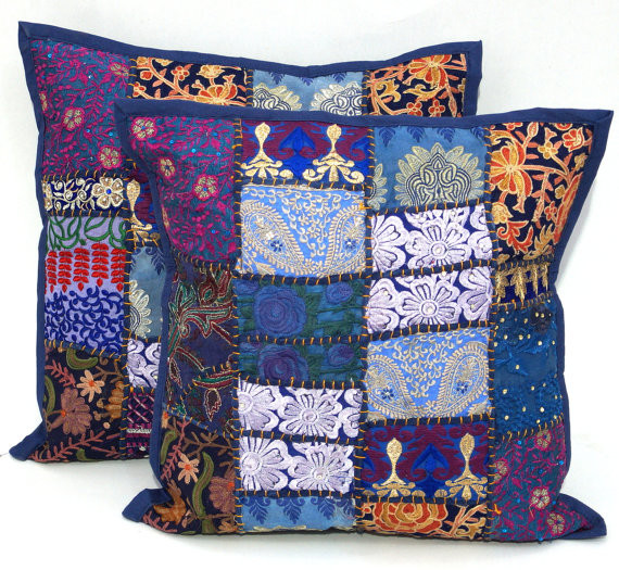 Handmade Patchwork Cushion Cover Indian Sari Pillow Cases Indian Pillow Cover