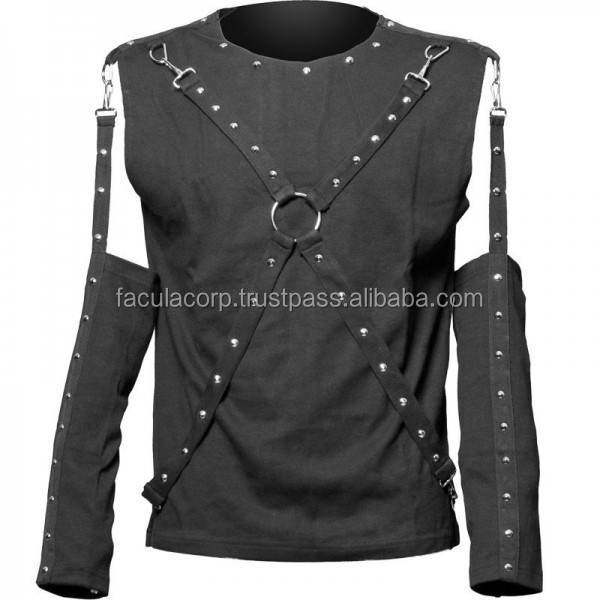 2016 Gothic Black Men's top with detachable 2015 sleeves and bondage straps cotton material shirt FC-4144