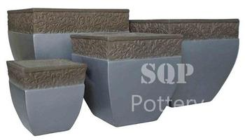 Curved Square painted cement pot with top decor