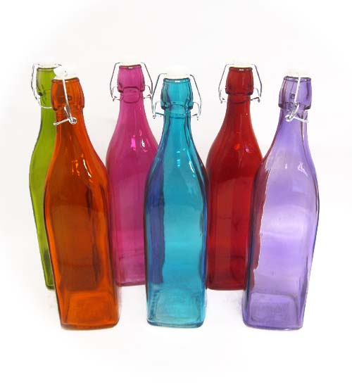 Glass Water Bottle 1ltr Square Assorted Colors