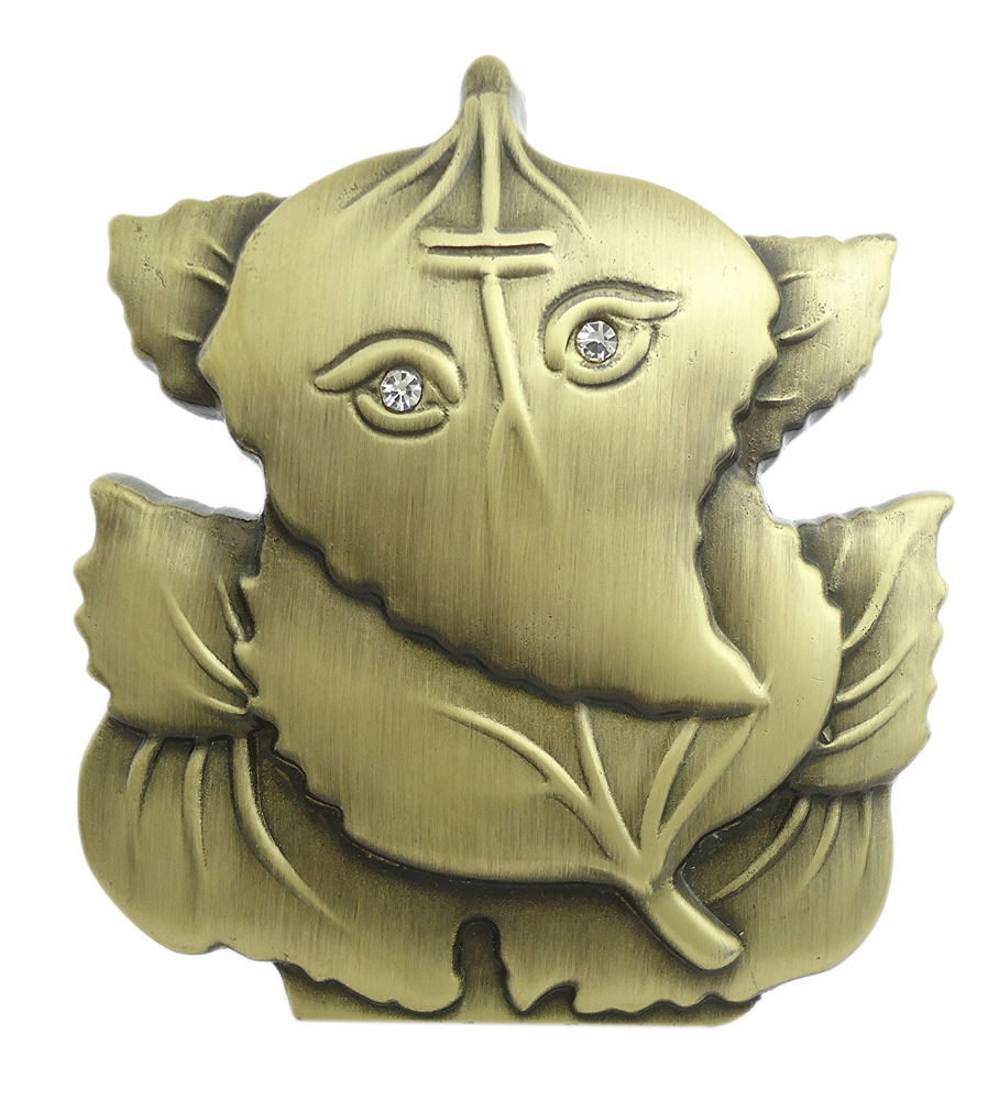 Ganesha Statue On Leaf For Car Dashboard (10676)