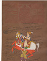 Royal King Indian Equestrian Painting Handmade Rajasthani Maharaja Miniature Portrait water colour Artwork Antique Vintage