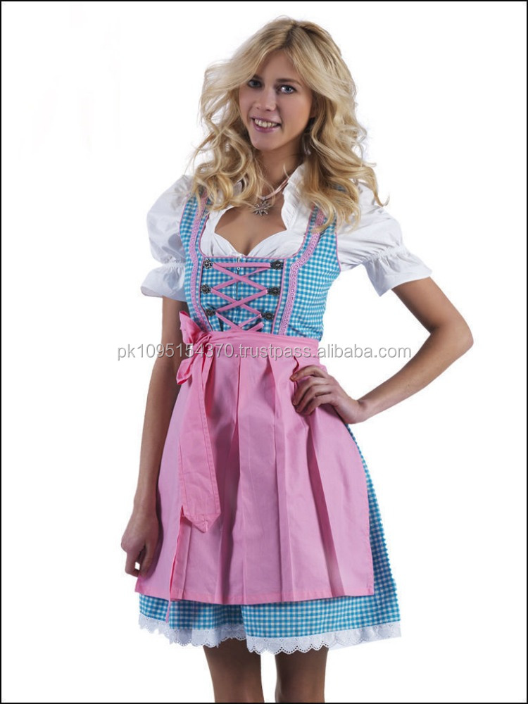 Handmade Sky Blue 100%Cotton Dirndl German Bavarian Dress