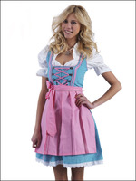 "Handmade""Sky Blue 100%Cotton Dirndl German Bavarian Dress"