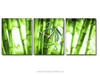 Home Decoration With Green Bamboo Three Panels Painting Wall Clock