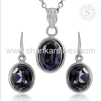 Graceful Fashion Jewelry Alexandrite Cut Gemstone Set Charming Sterling Silver Jewelry Supplier