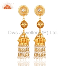 New Arrival Traditional Jhumkas Earring 925 Silver Gold Plated Crystal And Pearl Gemstone Earrings Manufacturer Womens Jewelry