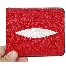 FREE SHIPPING **LOVELY HOT RED Classic Genuine Stingray Leather Bi-Fold Wallet w/ Left Flap (RED)