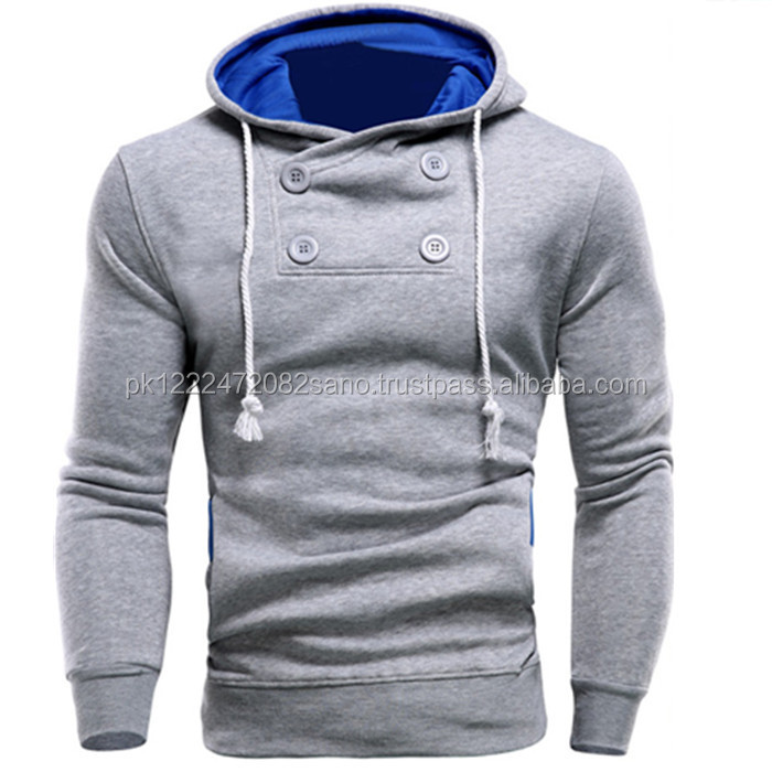 New Top Design Man Hoodies Slim Casual Collar Button Jacket