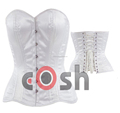 White Satin Double Steel Boned Fullbust Corset Supplier