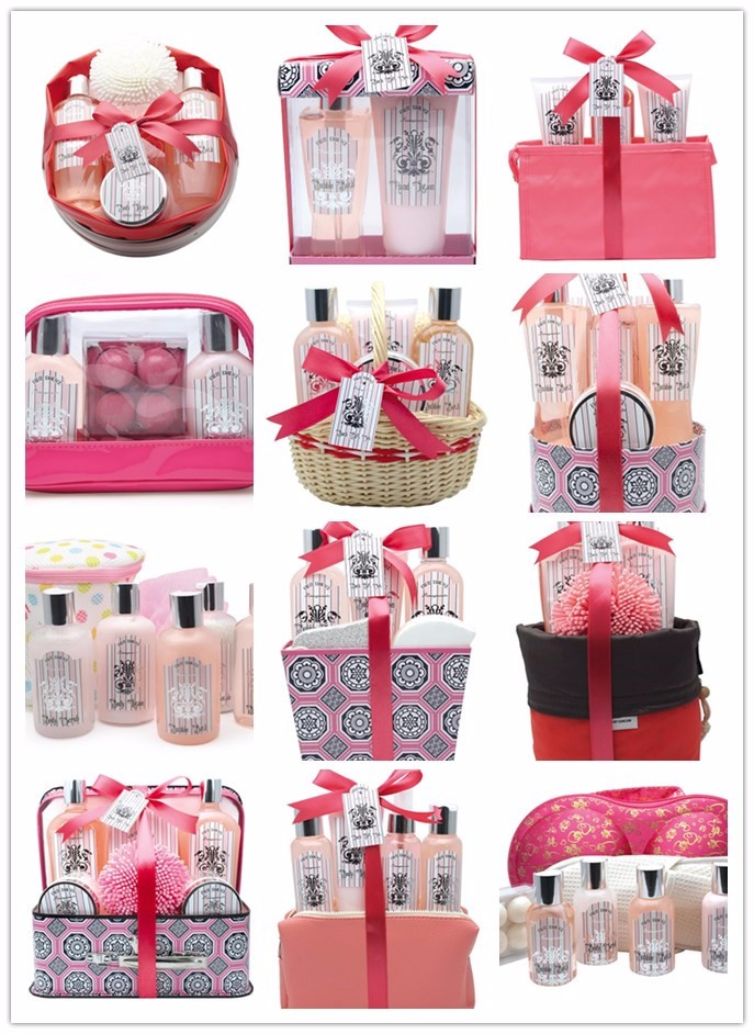 Hot Sale Luxury & Beauty Bath Gift Set with pomegranate flavor in Red Storage Bag