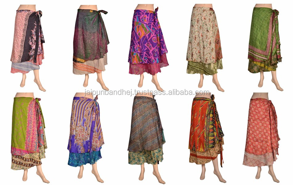 Indian Two Layer Silk Wraparound Long Vintage Wrap Skirts