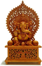 Large Ganesha Statue Wood Ganesh Idol God Elephant Hindu Deity Lord Figurine
