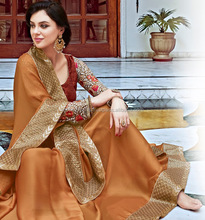 Savvy Brown Satin Chiffon Designer Saree/embroidered saree border/wholesale saree