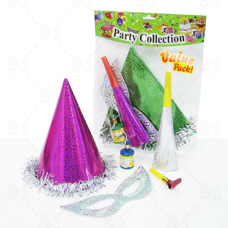 Hat Party Pack (5 in 1) Set Included: Party Hat , Single Layer Mask , Paper Trumpet , Dragon Blow Out ,Champagne Popper