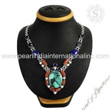 High Quality Natural Gemstone Silver Necklace 925 Sterling Silver Jewelry Wholesale Indian Silver Jewellery Exporters