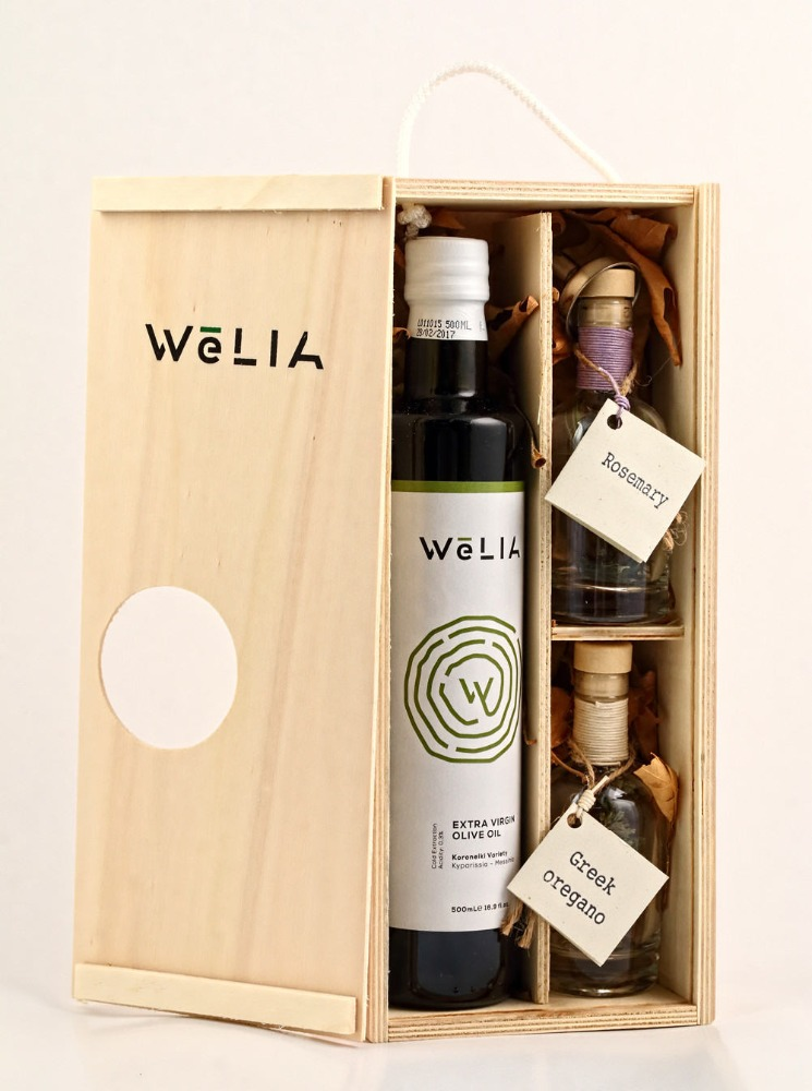 Greek WeLIA Extra Virgin Olive Oil Gift Wooden Box ready for infusion with Rosemary & Oregano