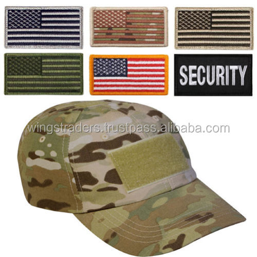 MENS CAMOUFLAGE CAP WITH DIFFERENT DIFFERENT VELCRO FLAGS 100% COTTON MILITARY CAP
