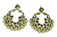 Kundan Meena & Pearl Gemstone Gold Plated Chandbali Earrings Jewelry