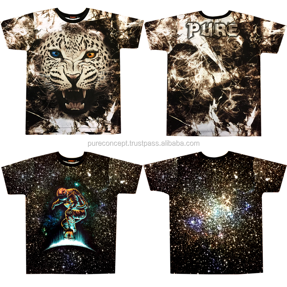 Pure concept Bangkok custom all over print 3D wholesale t shirt