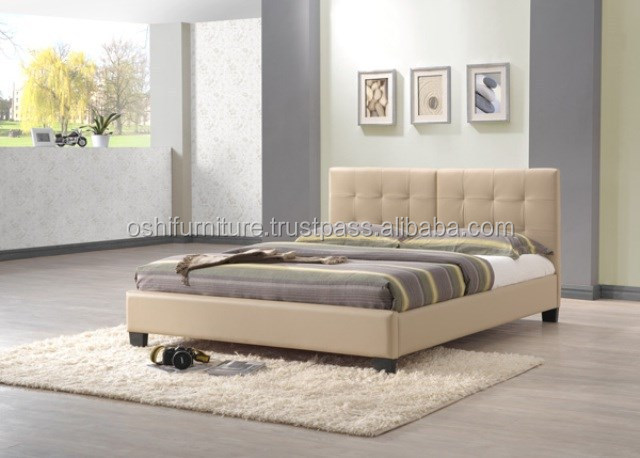 Bed frame, Fabric bed, Trufted Upholstery headboard, Single, Twin, Double, Queen, King size bed