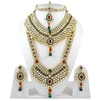 Gold Plated Indian Wedding Jewelry Red Bridal Set Bollywood Kundan Set India -BNS6830