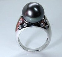 Black Pearl Diamond Engagement ring 14kt White Gold JEWELFORME BLUE Wholesale