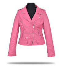 Yellow Wax Leather Ladies fashion Jacket, Purple,Pink Leather Rider Women jacket, OEM/ODM Customize Ladies Motorycle Garments