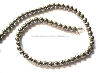 Good Quality Natural Pyrite Round Faceted Loose Beads Strand