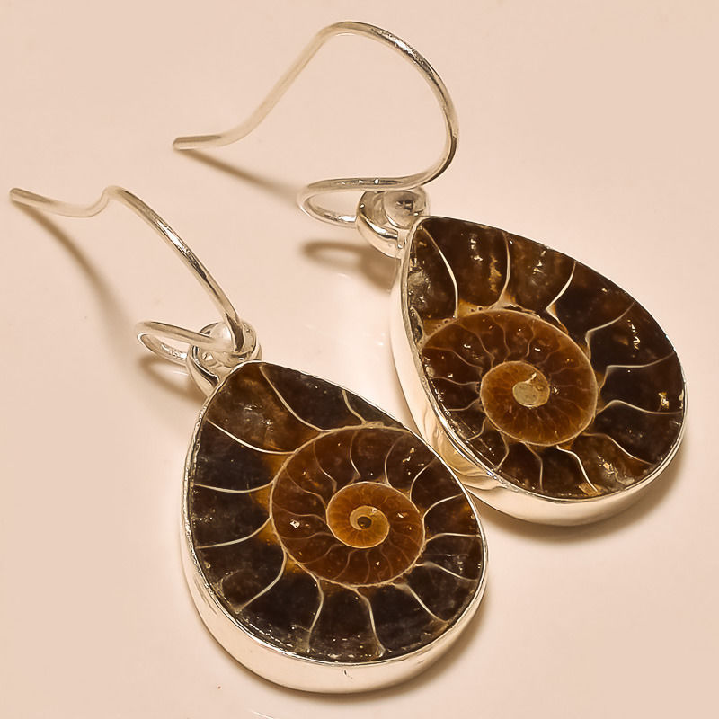 NATURAL AMMONITE FOSSILS EAR-RING 92.5 STERLING SILVER HANDMADE EAR-RING