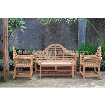 Solid Teak Wood Lutyen Bench Set outdoor sofa furniture