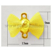 Brass Net Flake Findings, Lead Free, Bowknot, Golden Color, Size: about 13mm wide, 9mm long, 5mm thick, hole: 1mm