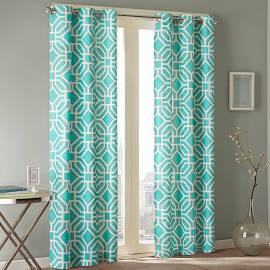 "Intelligent Design Maci Window Curtain - Aqua - 84"" Panel"