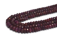 AAA RUBY ROUNDEL FACETED CORUNDUM PRECIOUS RED COLOR BEADS NECKLACE