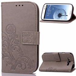 Clover Pattern Leather Wallet Cover for Samsung Galaxy S3 I9300 Cell Phone Cases- Grey
