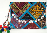 Vintage Handmade Boho Gypsy Clutch Bag Banjara Patchwork With COIN Tribal Gypsy indian Banjara clutch kutch Handmade pom pom